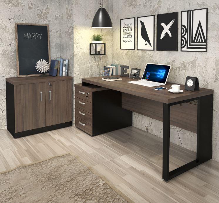 Mesa diretor dinâmica pé quadro com gaveteiro pedestal (04 gav) + armário baixo